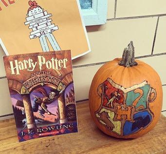 Harry Potter book and pumpkin