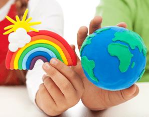 clay rainbow with a clay globe
