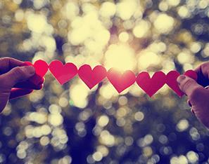 paper hearts chain in sunlight