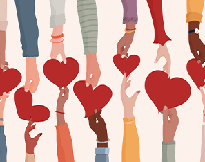 Hands holding hearts indicating love and unity