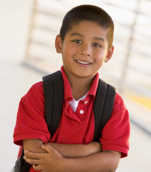 young boy with red shirt