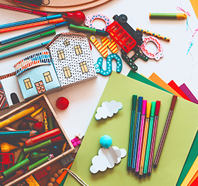 Colorful school related learning supplies