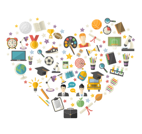 Educational symbols within a heart shape