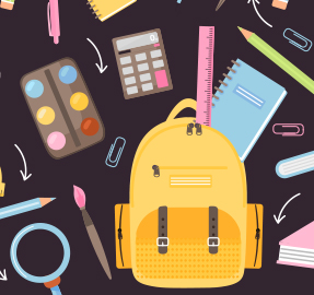 Drawing of backpack and school supplies