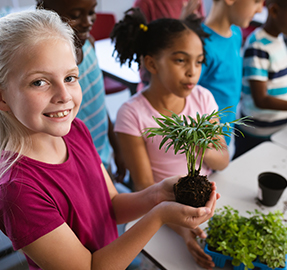 Elementary school girl holding a seedling in the classroom