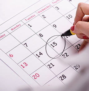 a calendar with date circled