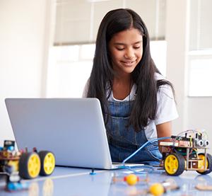 girl working with robotics