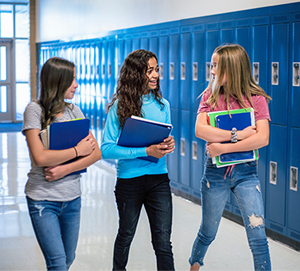 three girls near lockers