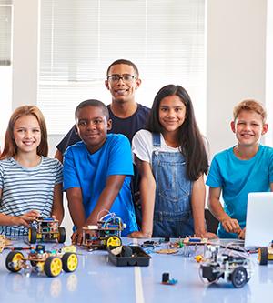 students learning robotics