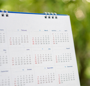 Calendar on green background