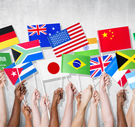 hands holding flags