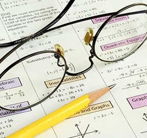 math paper and glasses