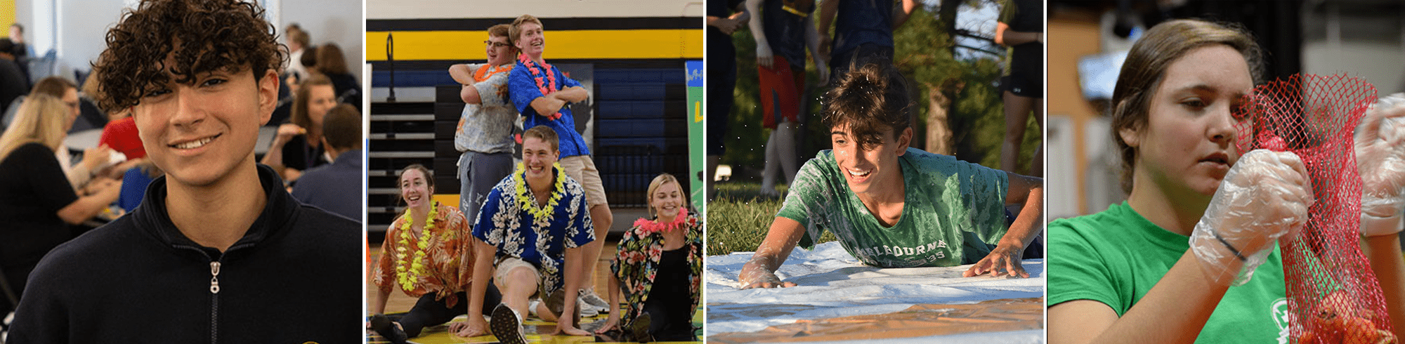 student smiling, group of students posing together in hawiian clothes, a boy doing a slip and slide, a girl with gloves preparing food