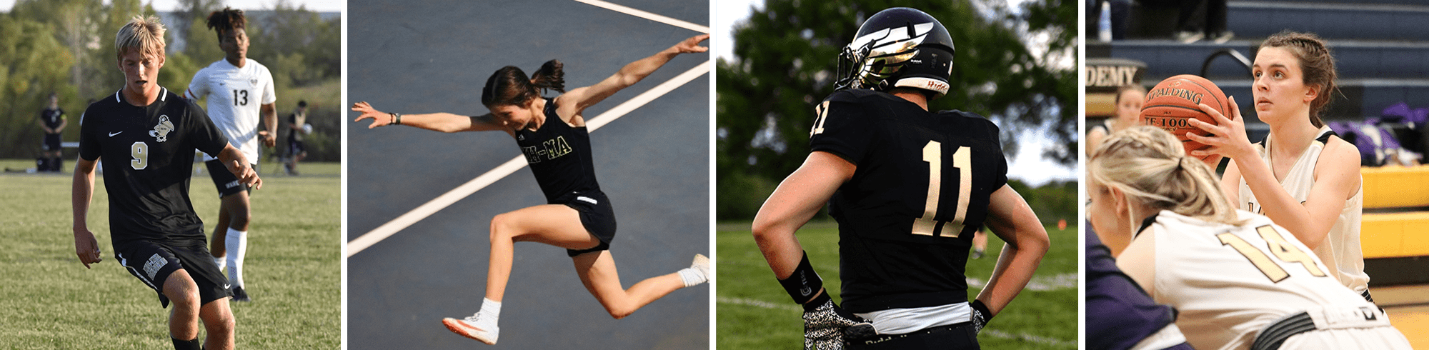 a student shooting a basket, a student swimming, a football player, a track student