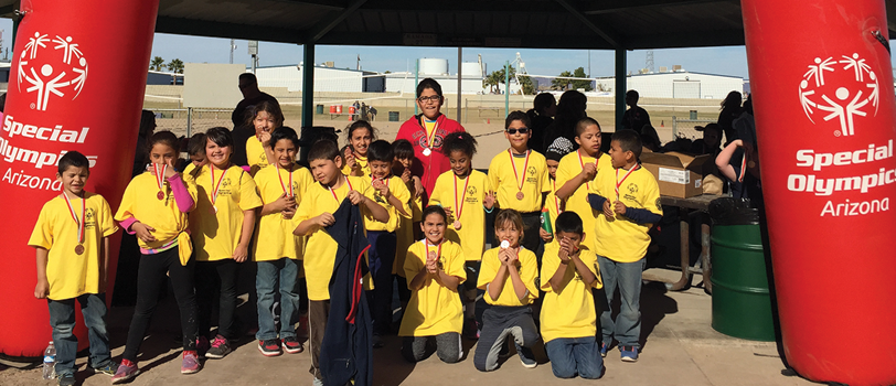 Students pose for the Special Olympics of Arizona