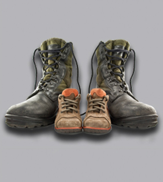 Big military boots and kids boots