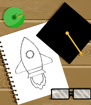 Drawing of rocket ship, innovation education concept