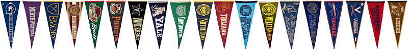 A collection of college pennant flags