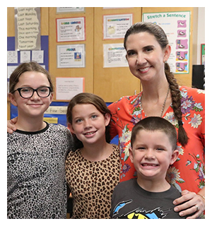 Teacher with 3 students