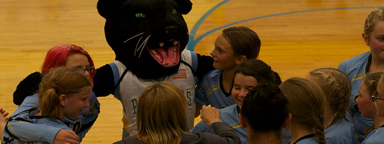 Girls Volleyball with Mascot