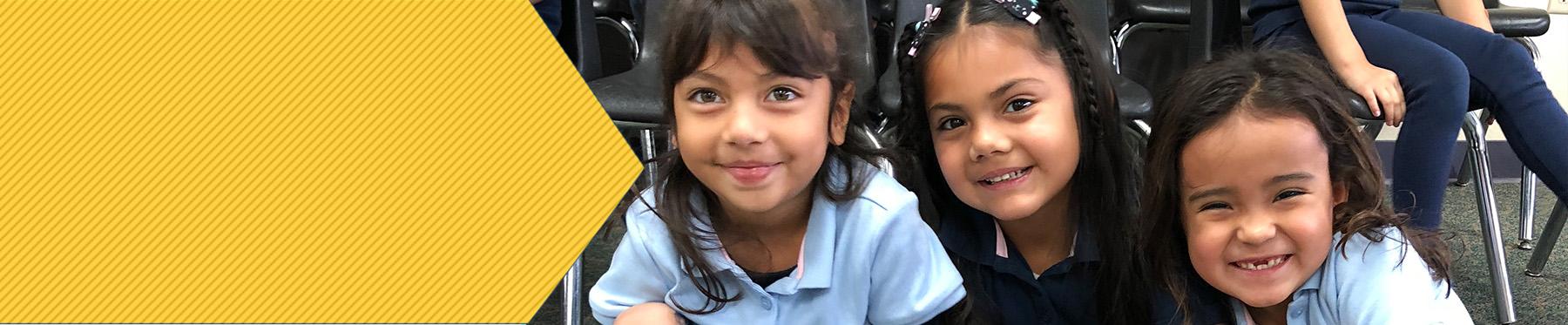 Three happy Sun Canyon Elementary School school girls