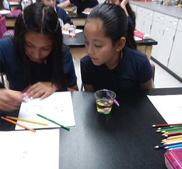 A female student looking over another female student's shoulder as they work on a classroom project with colored pencils together