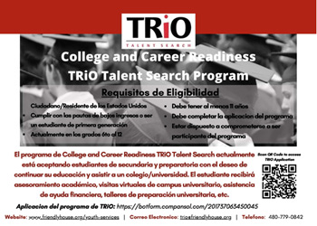 College and Career Readiness TRiO Talent Search Flyer in Spanish