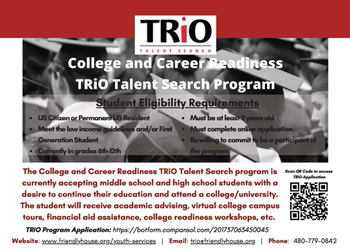 College and Career Readiness TRiO Talent Search Flyer in English