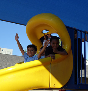 Students on a slide