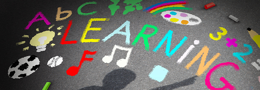 A-B-C-Learning written out in colorful chalk