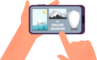 Drawing of student holding online museum application