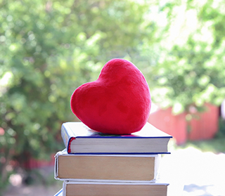 Red soft heart on a stack of books