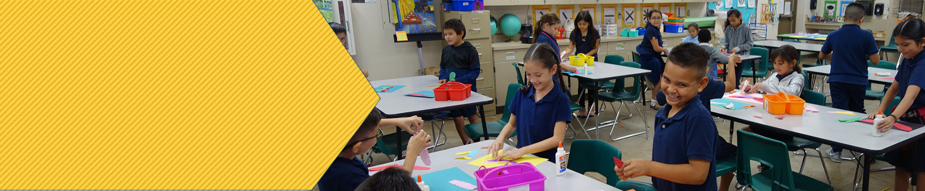 Fowler Elementary students enjoying arts and crafts in the classroom