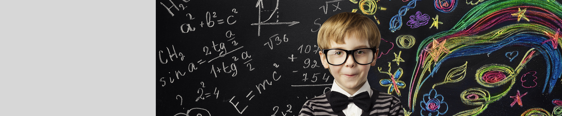 Boy with Math on Chalkboard