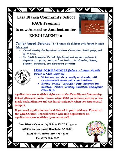 FACE Program Enrollment Flyer
