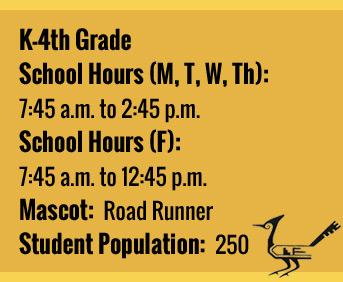 School Facts: K-4th grade school hours (M, T, W, Th): 7:45 a.m. to 2:45 p.m. School hours (F): 7:45 a.m. to 12:45 p.m. Mascot: Road Runner. Student population: 250