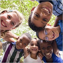 Children embracing in a circle