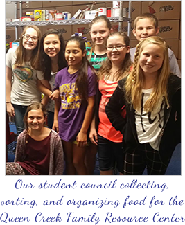 Our student council collecting, sorting and organizing food for the Queen Creek Family Resource Center.