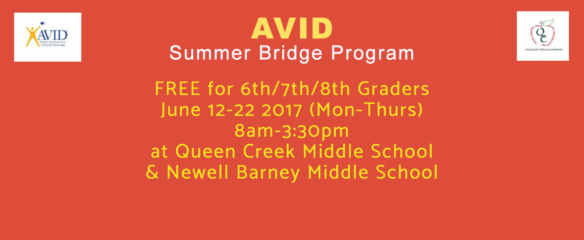 AVID Summer Bridge Program June 12-22  (Space is LIMITED)