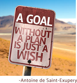A goal without a plan is just a wish. - Antoine de Saint-Exupery