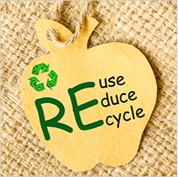 Paper apple with Reuse, Reduce, Recycle and a recycling logo written in the center