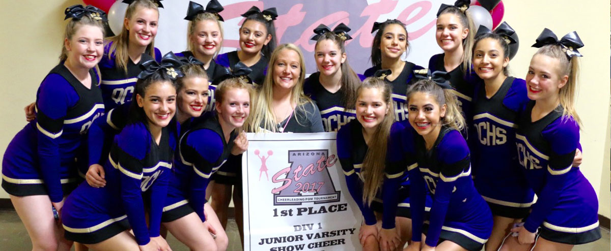 cheer team with 1st place banner