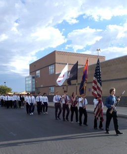 JROTC members walk during the Day of Service
