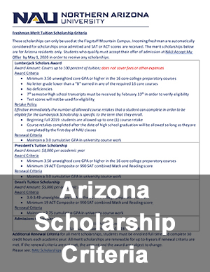 Arizona Scholarship Criteria Flyer
