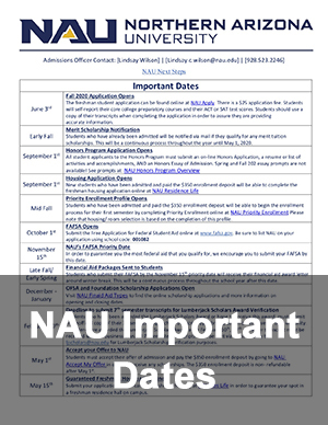Northern Arizona University Important Dates Flyer