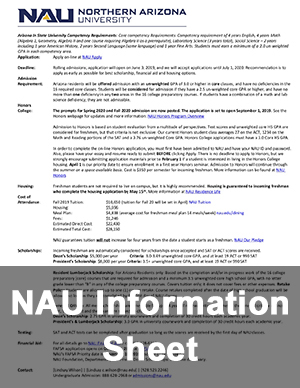 Northern Arizona University Information Sheet