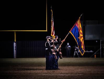 JROTC Battalion Presenting flags