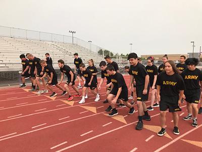 JROTC members doing PT mile