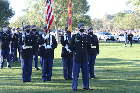JROTC Color Guard members hold flags