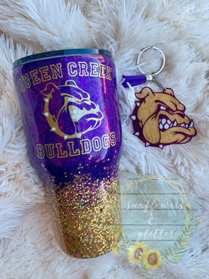 Bulldog cup and keychain